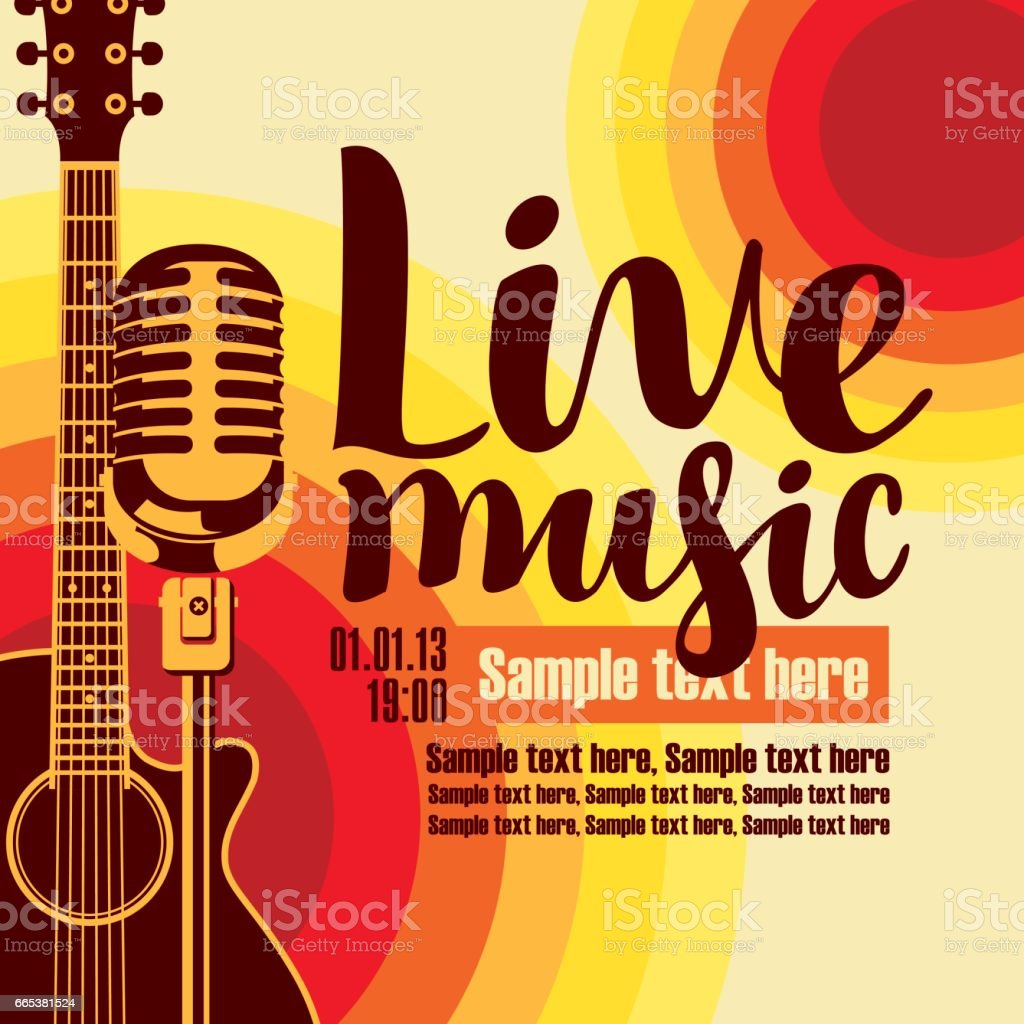 banner for concert live music with guitar and mic vector art illustration