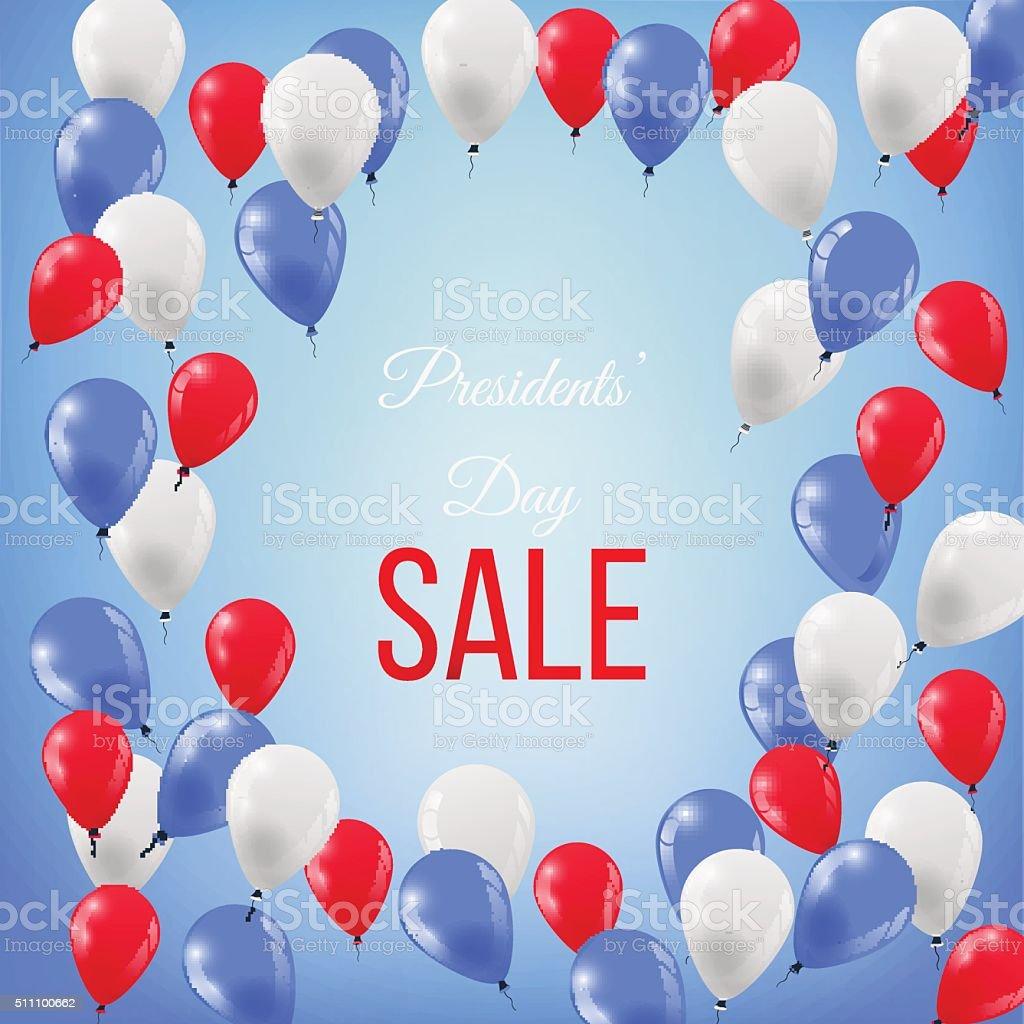 Banner for Presidents' Day Sale in USA vector art illustration