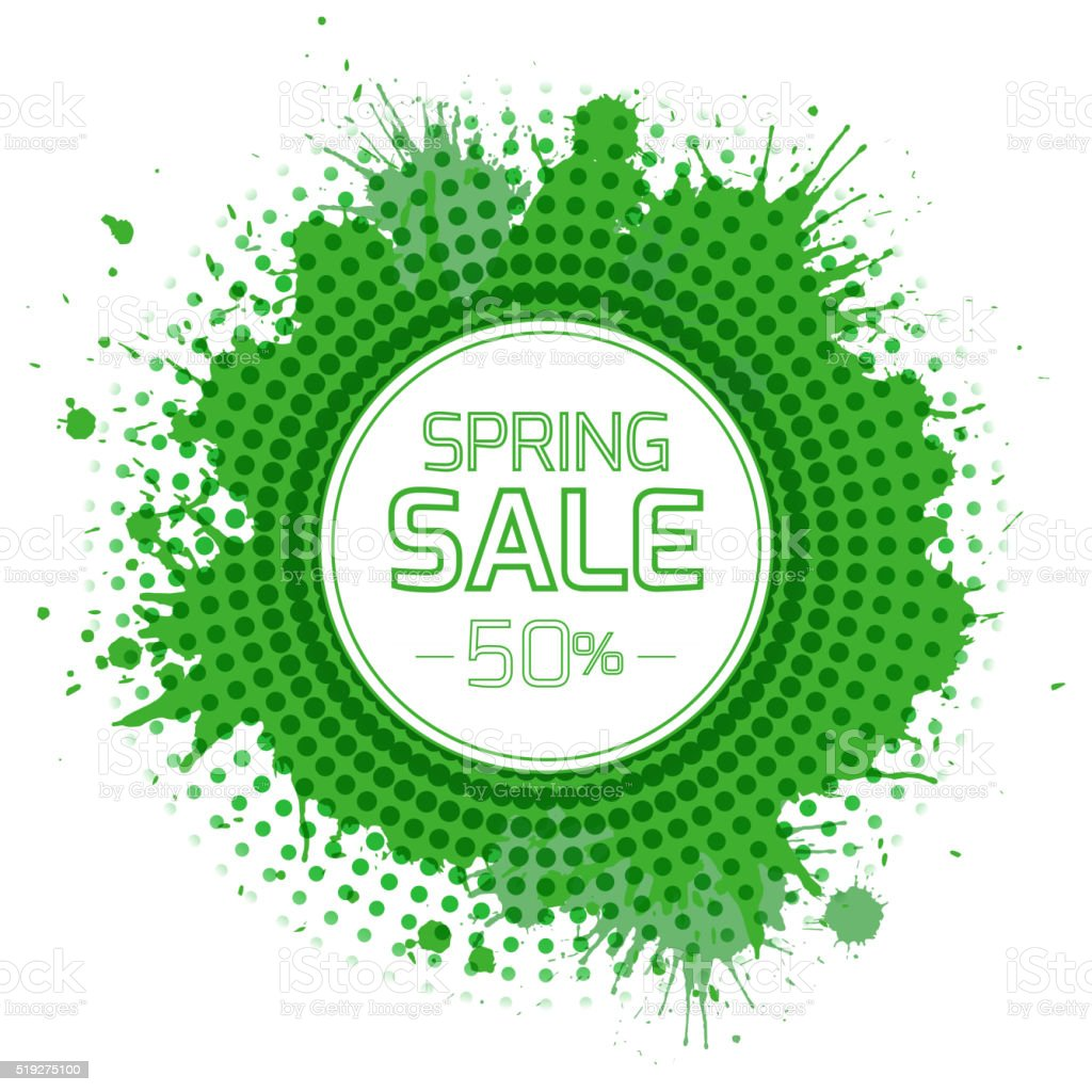 Banner for the spring sale with green splashes and halftones vector art illustration