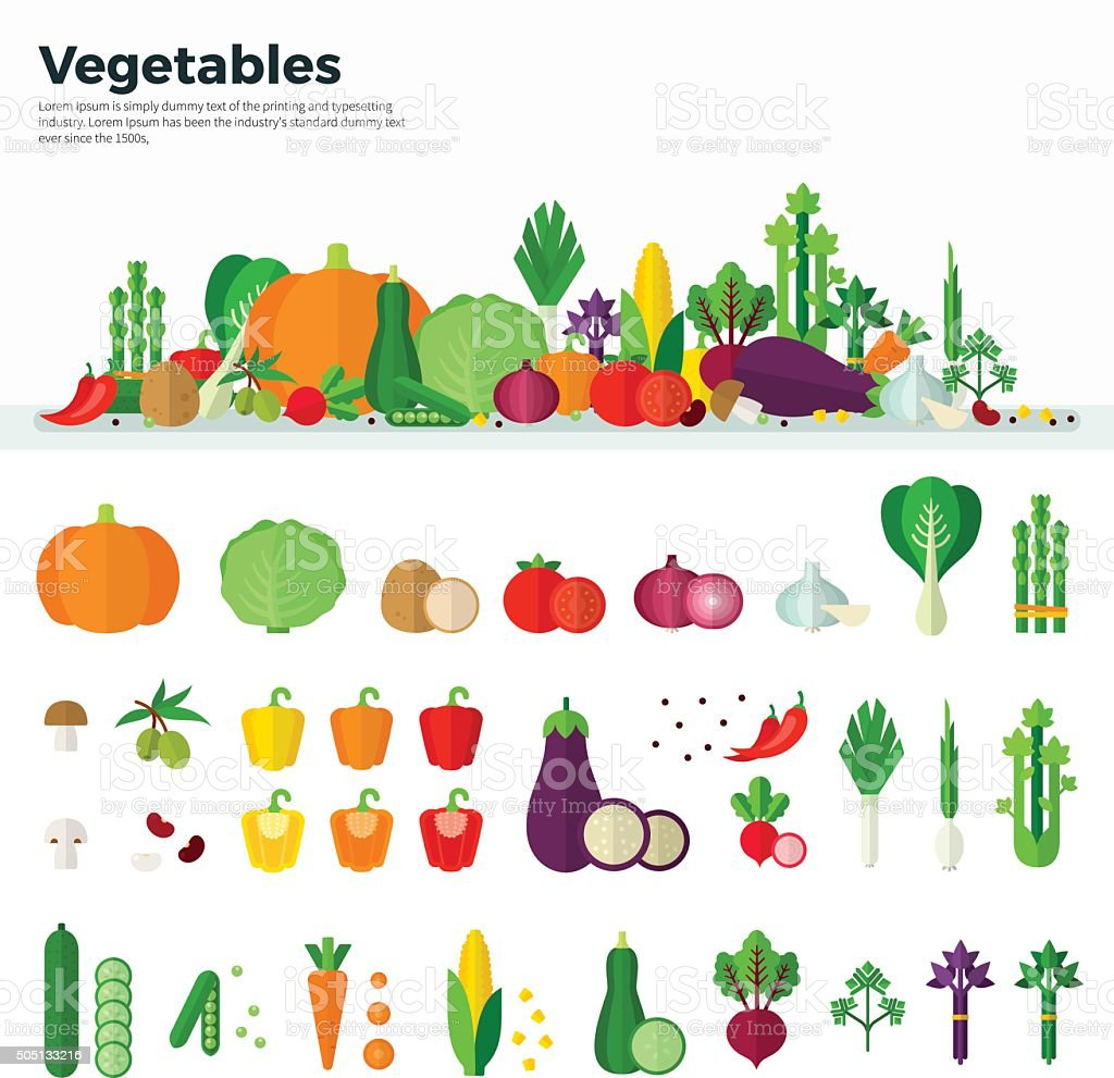 Banner Icons of Vegetables Healthy Food vector art illustration
