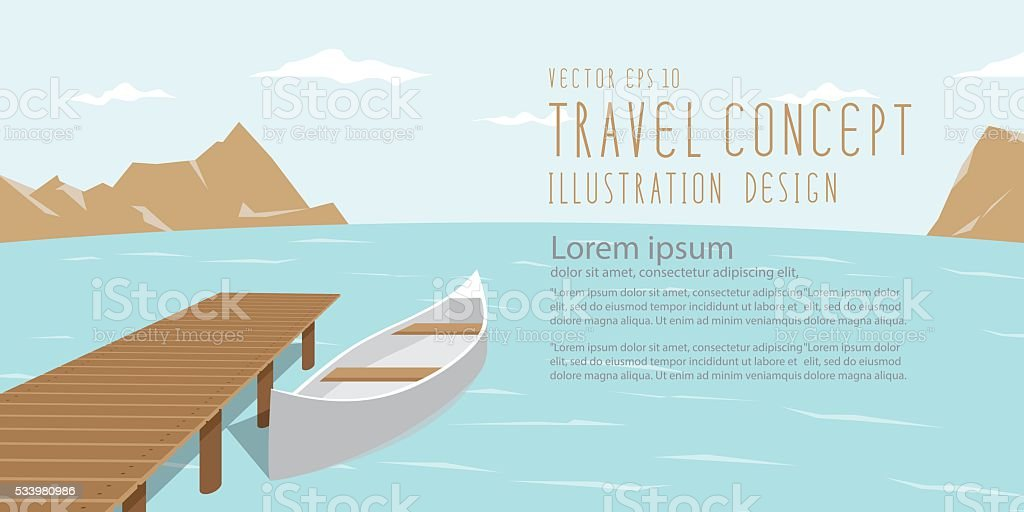 Banner landscape of lake, mountains and canoe amidst the natural. vector art illustration