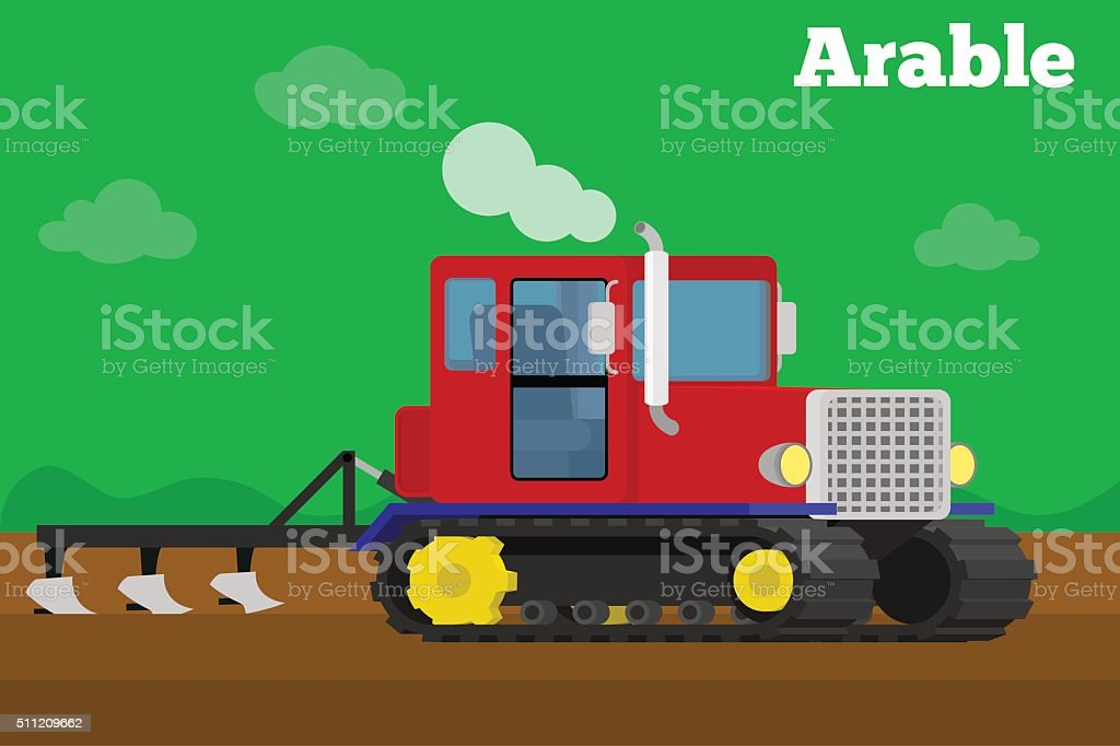 Banner of a agricultural crawler tractor with plow tillage field. vector art illustration