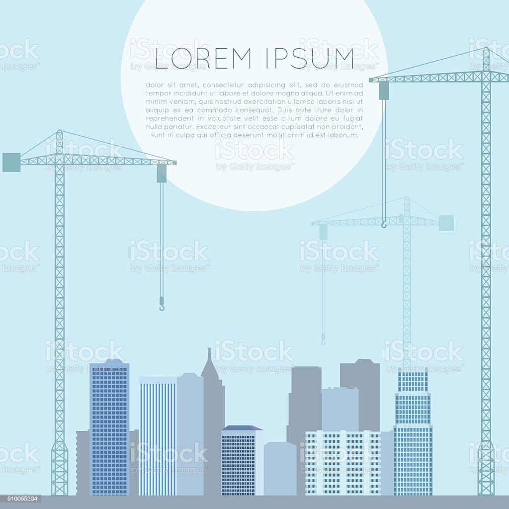 Banner of cranes vector art illustration