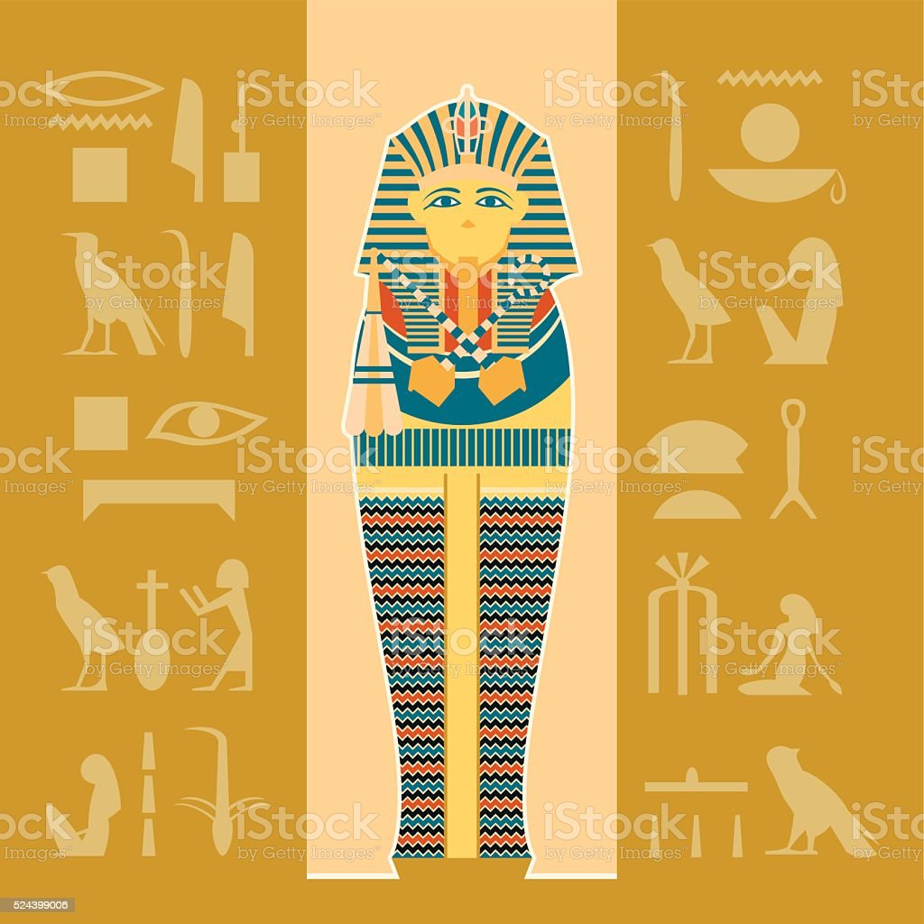 Banner of sarcophagus vector art illustration