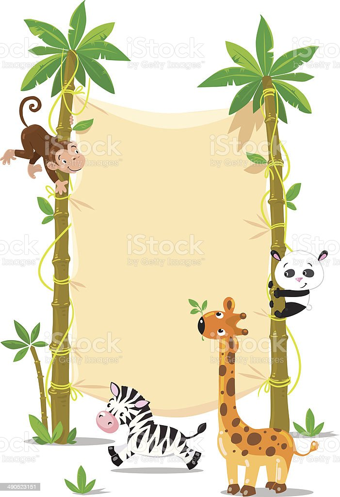 Banner on two palm tree with small funny animals vector art illustration