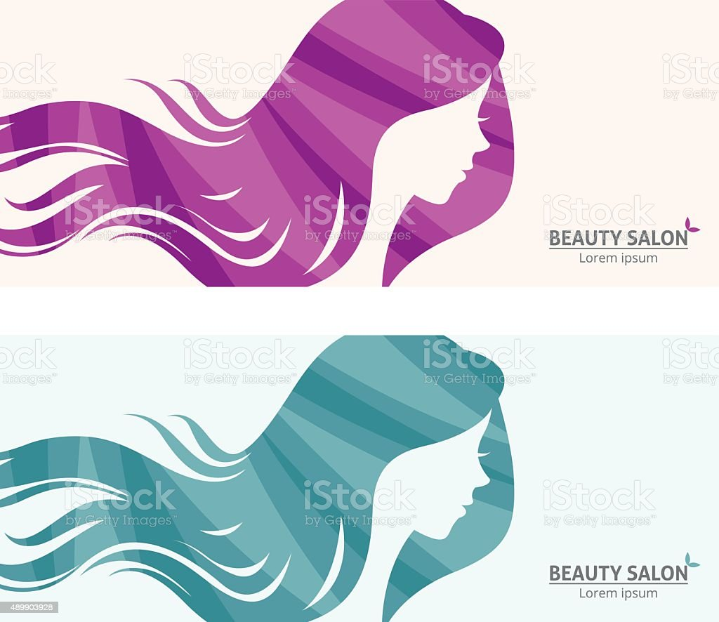 Banner or business card stylized woman profile for beauty salon vector art illustration