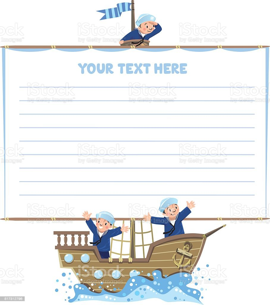 Banner or card with happy sailors on a sailboat vector art illustration
