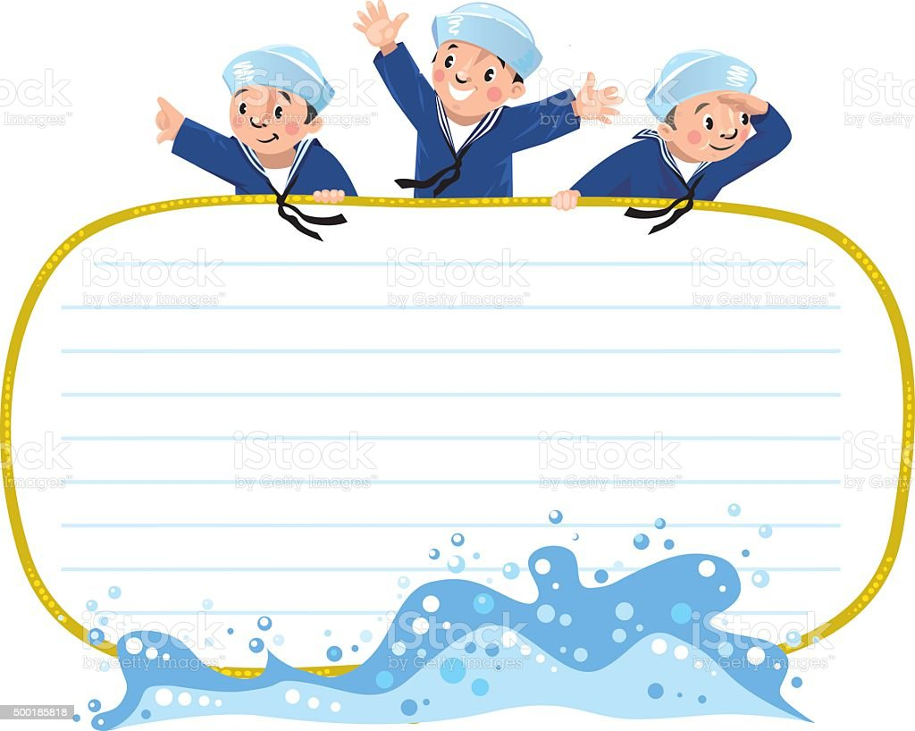 Banner or card with happy sailors vector art illustration