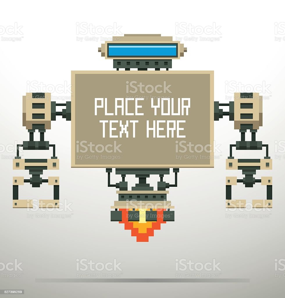 Banner Pixel Robot, white vector art illustration