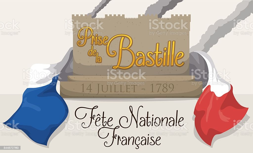 Banner Remembering the Storming of the Bastille with French Flag vector art illustration