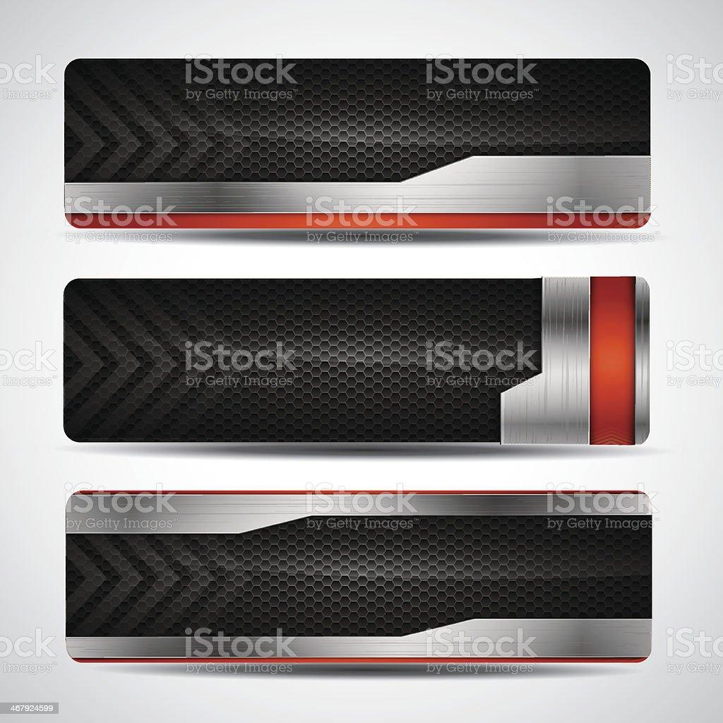 Banner set - metallic and carbon layout vector art illustration