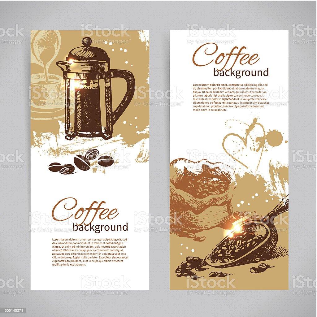 Banner set of vintage coffee backgrounds. Menu for restaurant, c vector art illustration