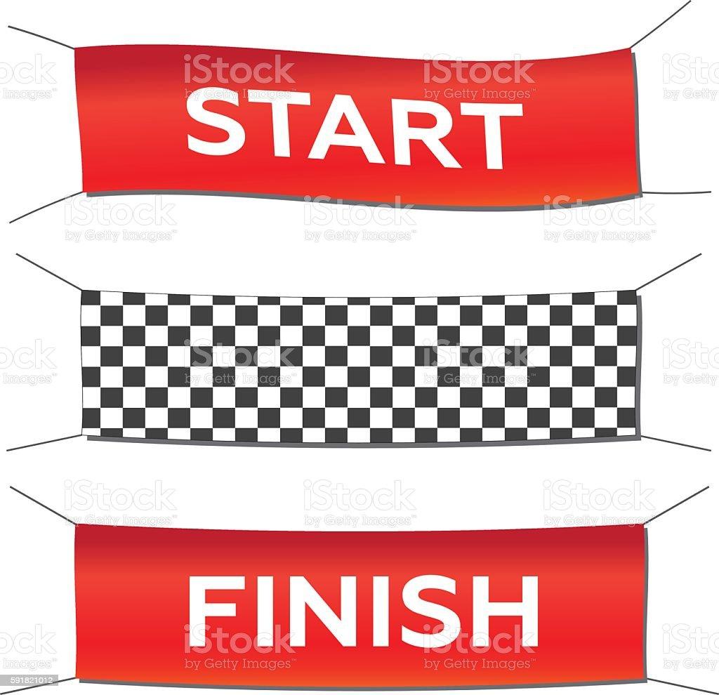 Banner set start finish vector art illustration