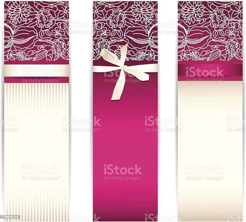 Banner set with bow and lace royalty-free stock vector art