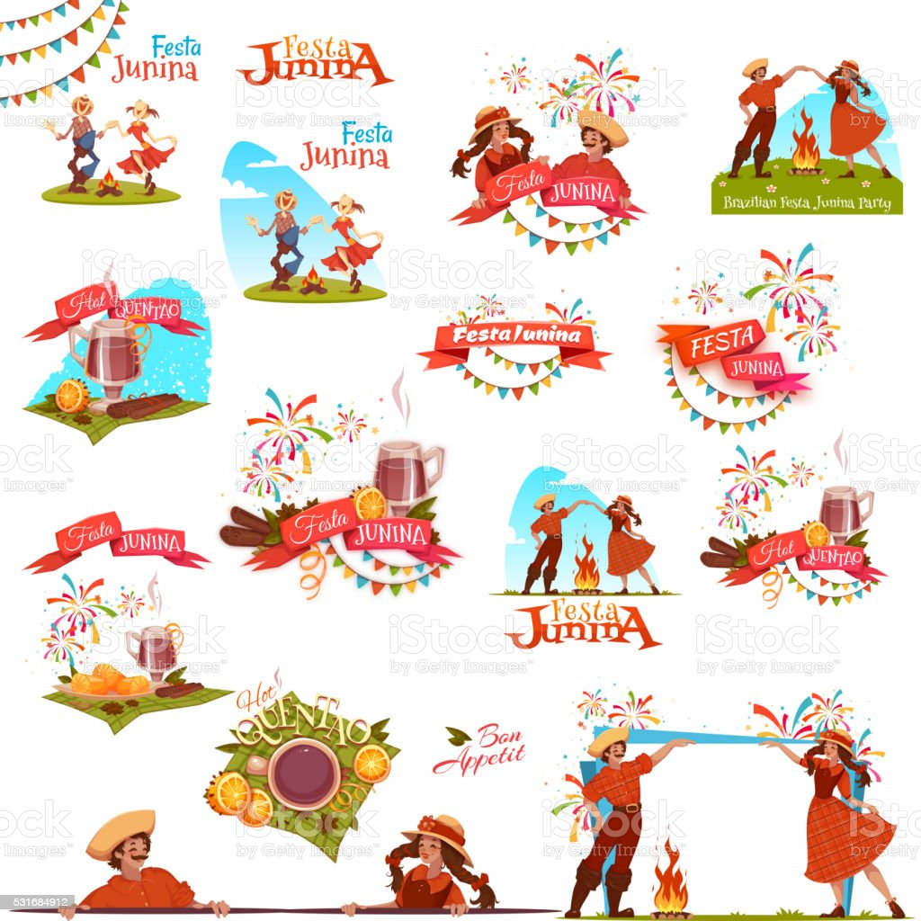 Banner set with ribbons for Festa Junina Brazil party. Vector vector art illustration