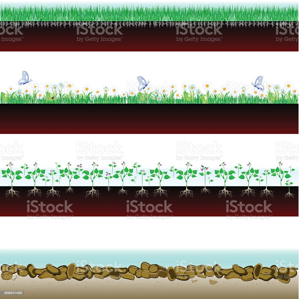 banner soil cutaway vector art illustration