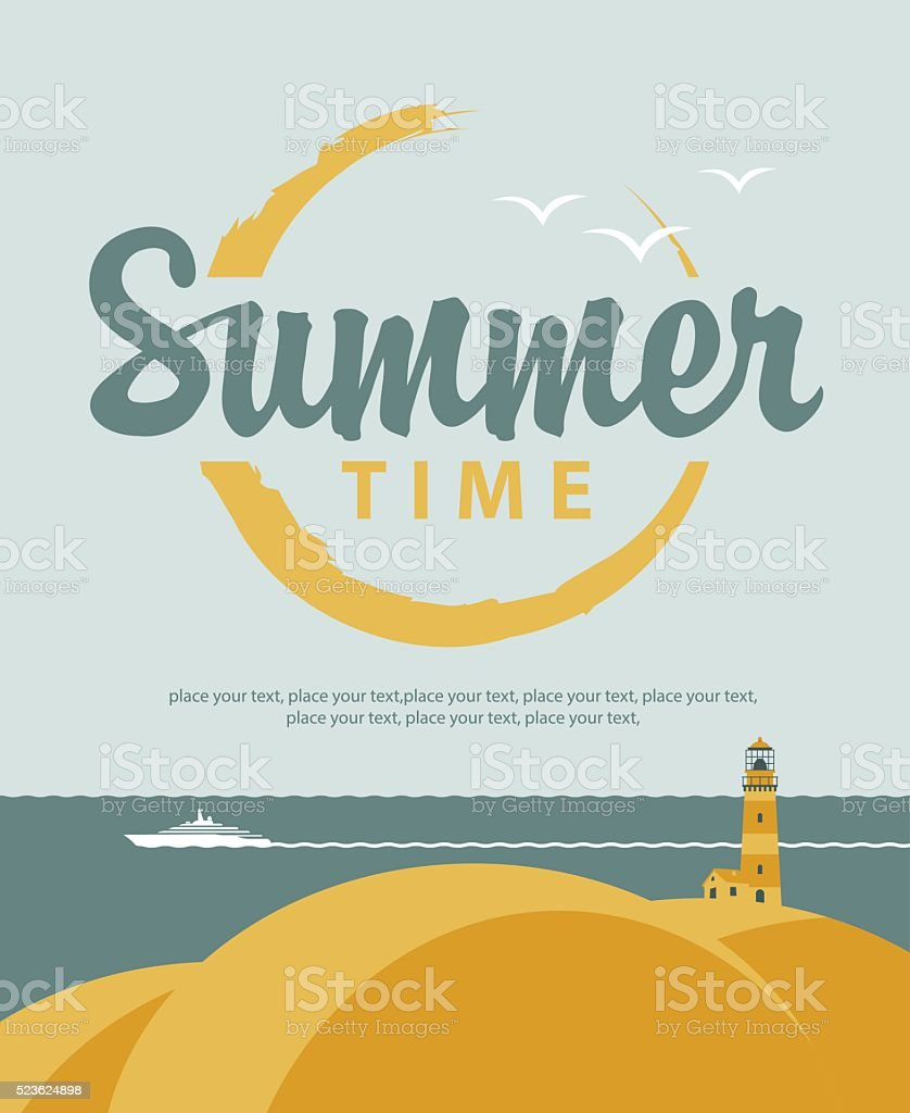 banner summer time with sea vector art illustration