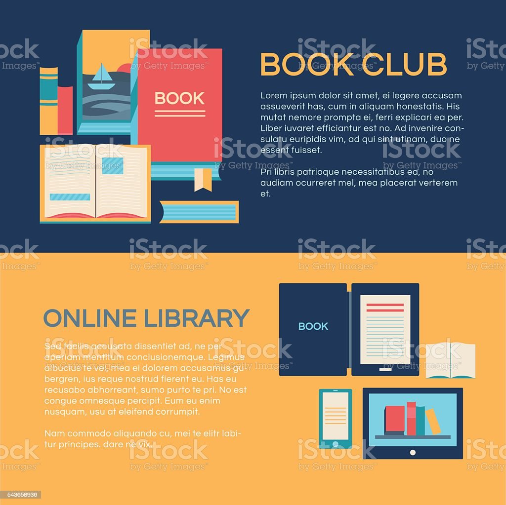Banner template with books vector art illustration