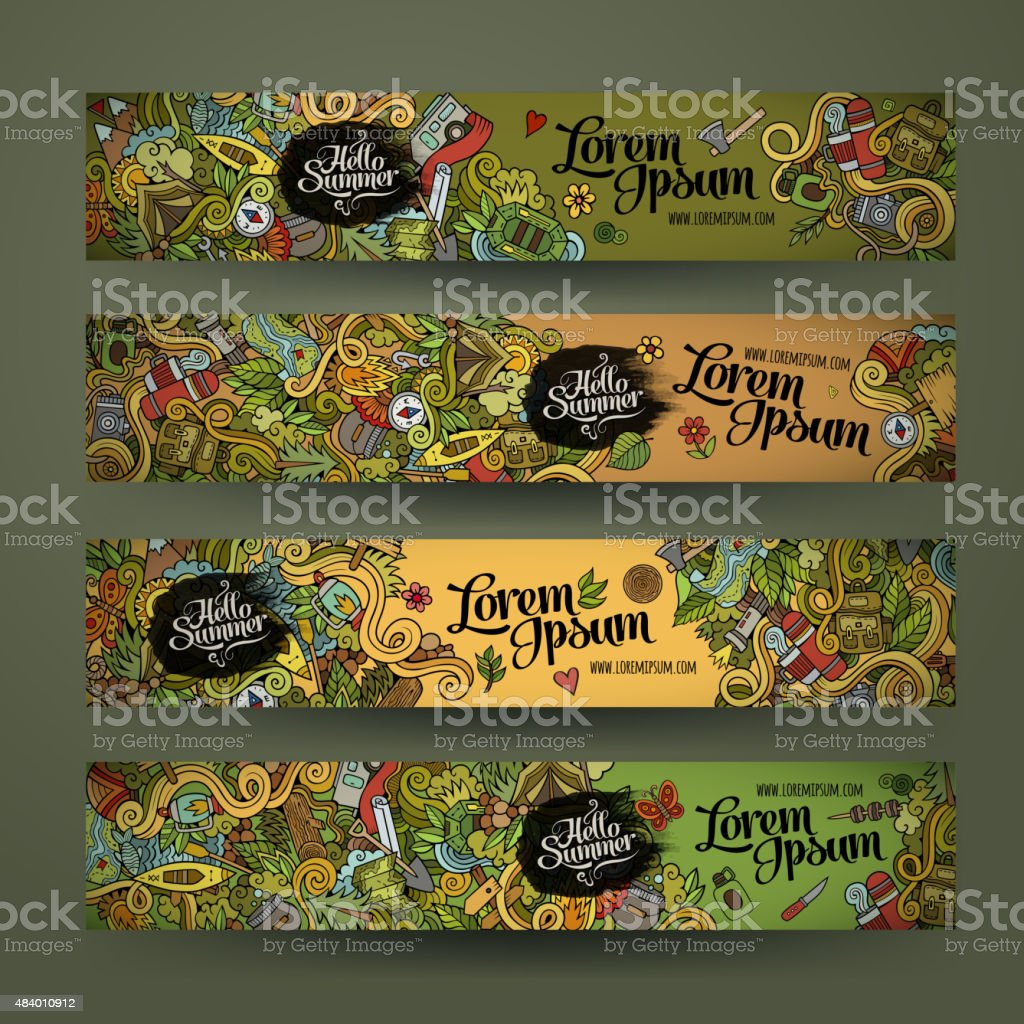 banner templates set with doodles camping theme vector art illustration