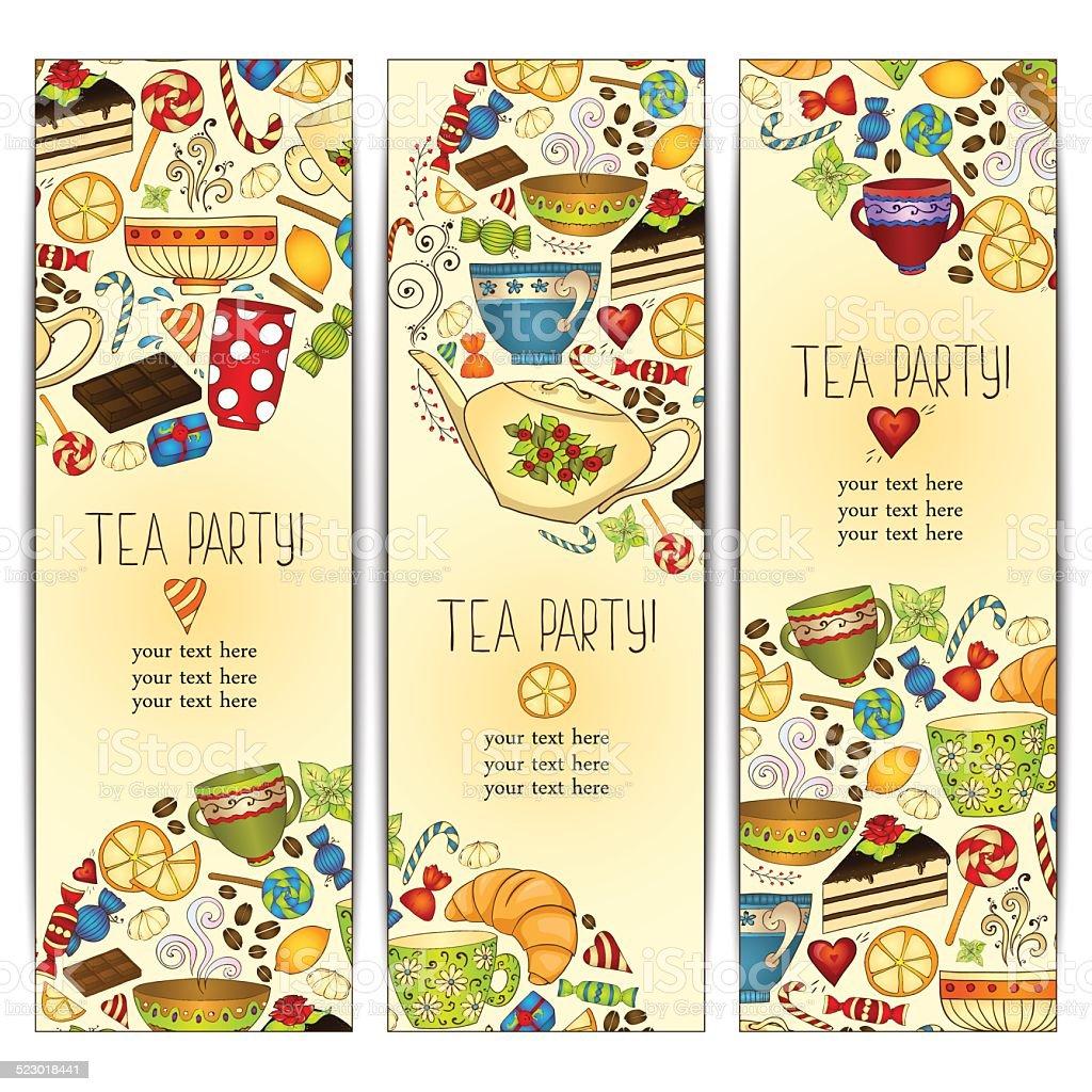 Banner templates vector collection. Tea party. vector art illustration