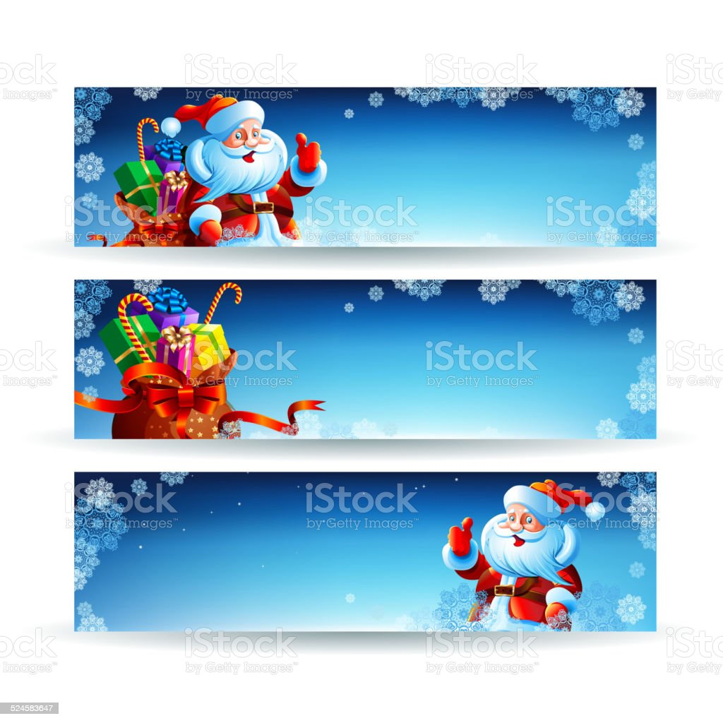 Banner with a bag of Christmas gifts vector art illustration