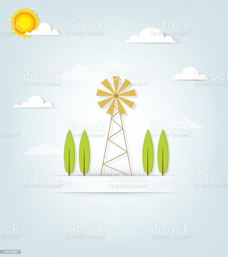 Bannière avec un ancien moulin à vent et arbres stock vecteur libres de droits libre de droits