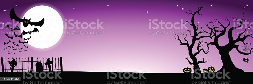 banner with bats against the full moon vector art illustration