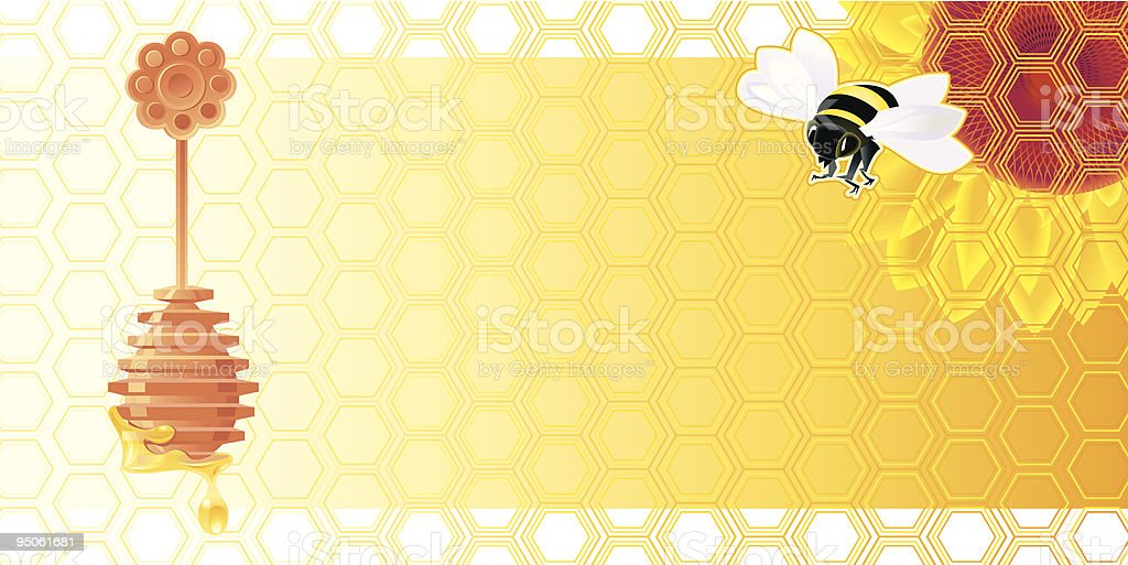 Banner with bee vector art illustration