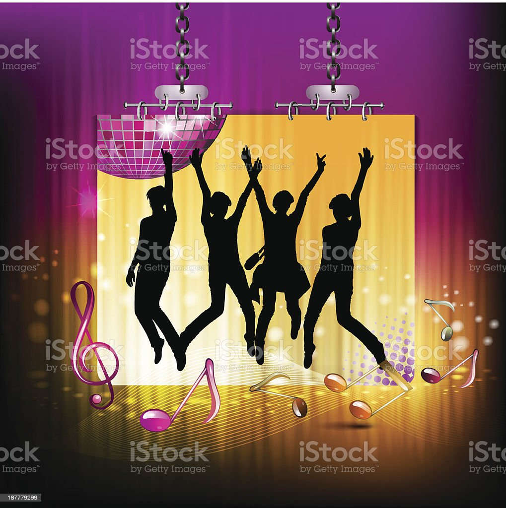 Banner with dancing silhouettes royalty-free stock vector art