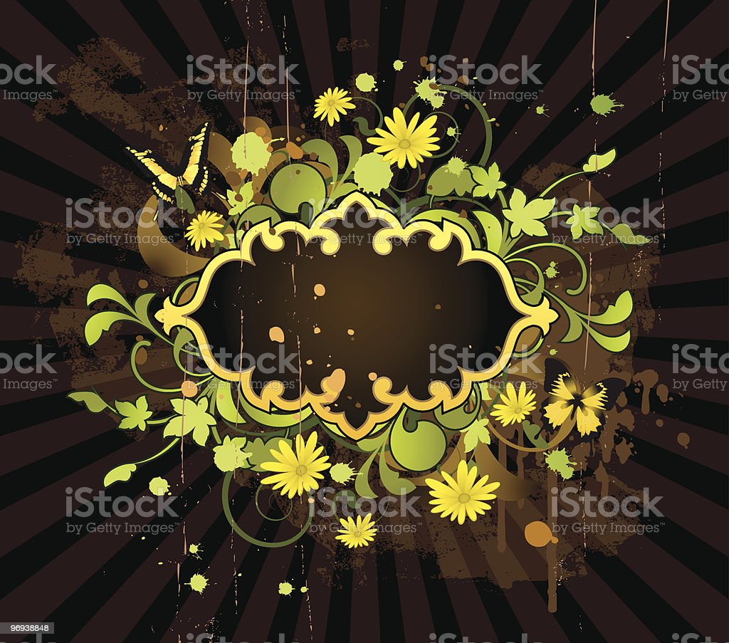 Banner with floral elements royalty-free stock vector art