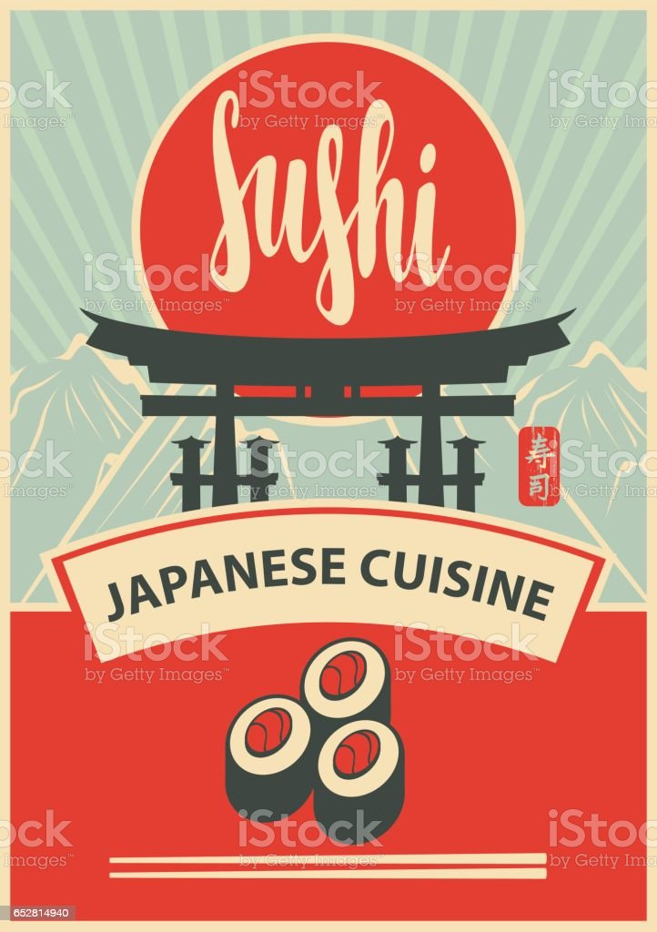 banner with gate and hieroglyph Sushi vector art illustration