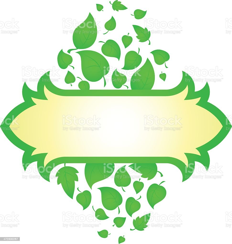 Banner with green leaves royalty-free stock vector art
