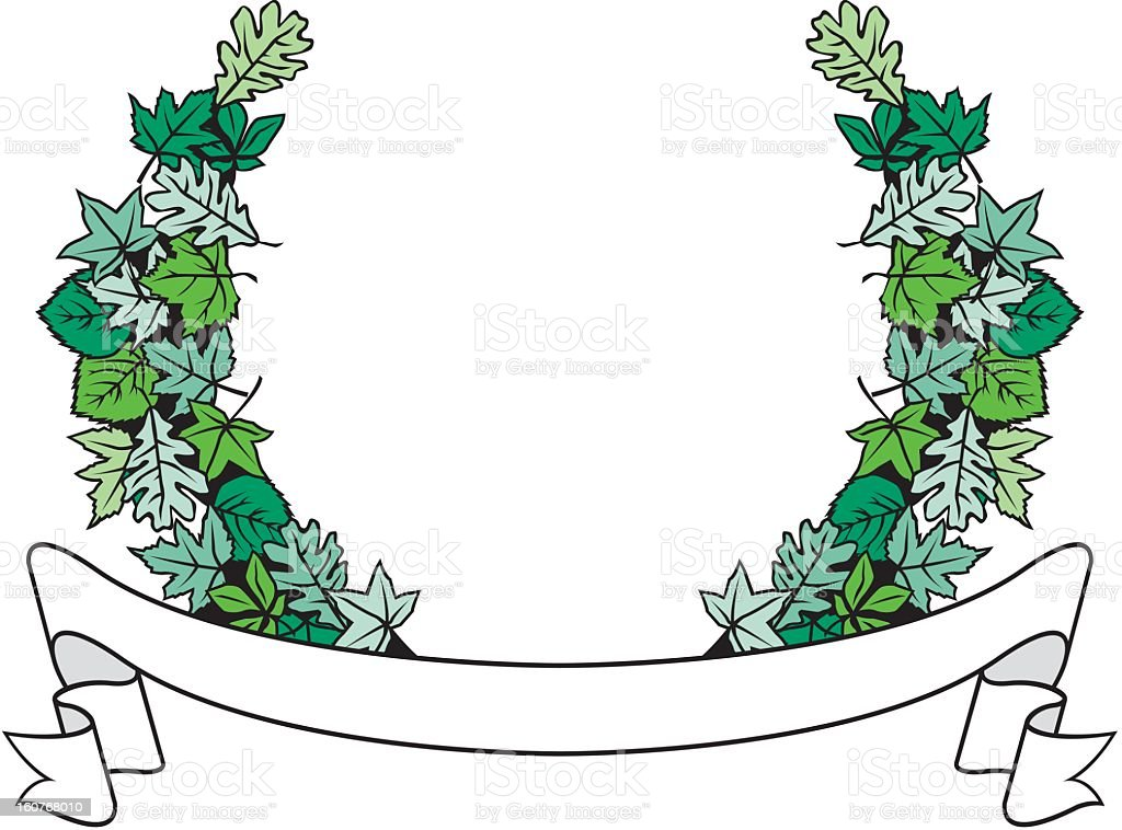 Banner with Leaves royalty-free stock vector art
