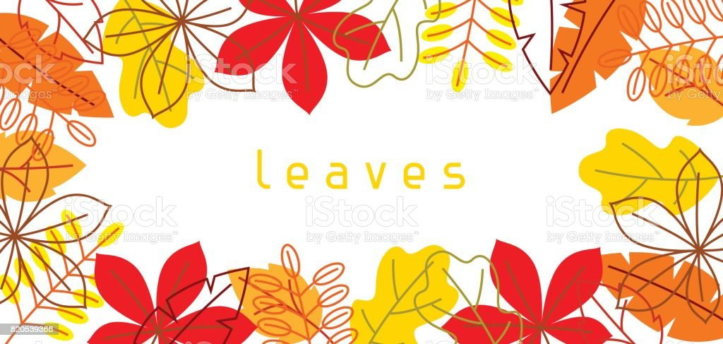 Banner with stylized autumn foliage. Falling leaves in simple style vector art illustration