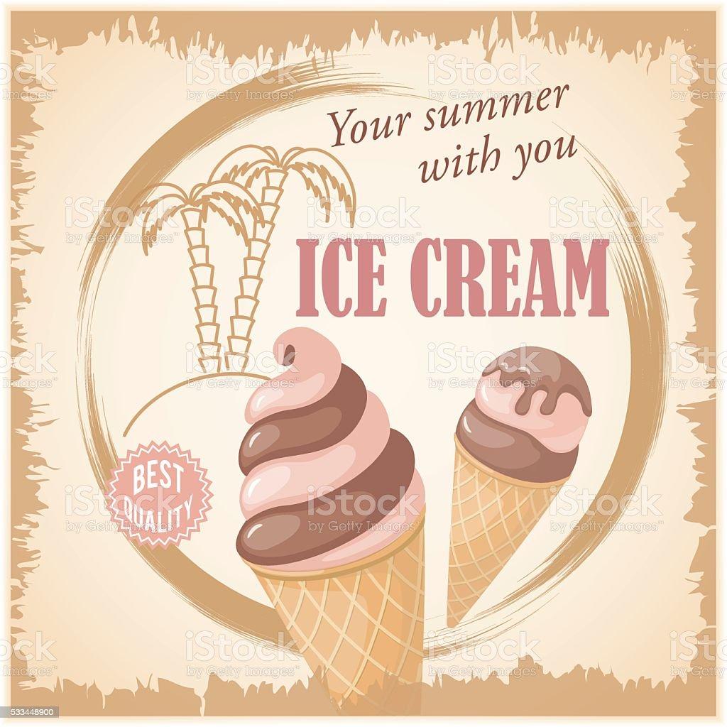 banner with summer chocolate ice cream vector art illustration