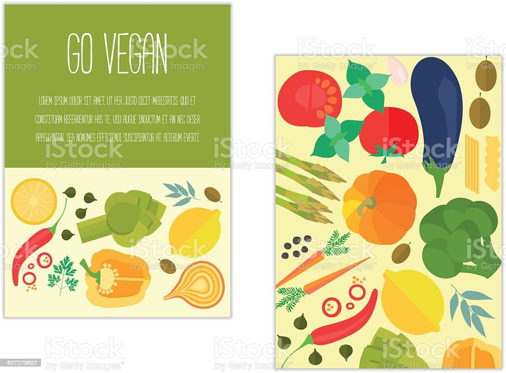 Banner with vegetables and text. vector art illustration