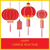 Banner with with traditional chinese lanterns
