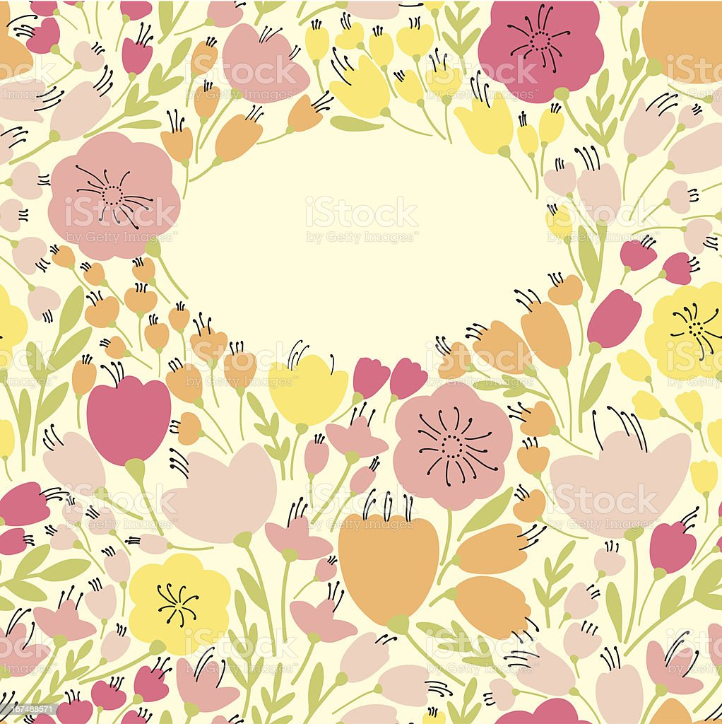 Banner with yellow and pink flowers royalty-free stock vector art
