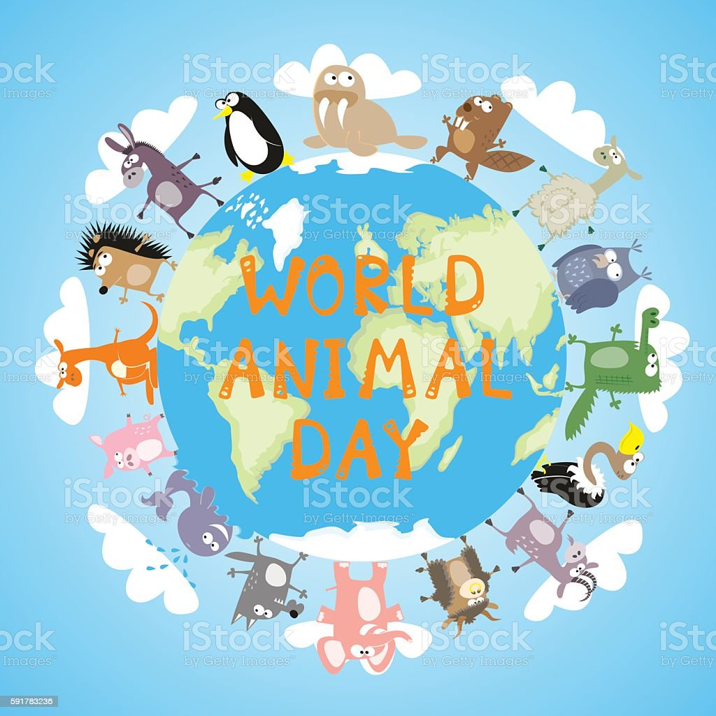 Banner World animal day with cute character drawing. Cartoon style vector art illustration