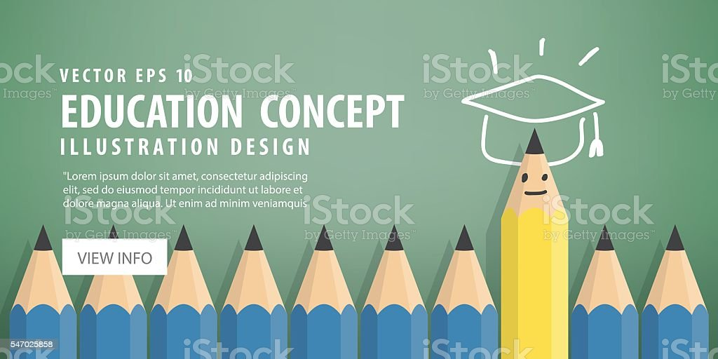 Banner Yellow pencil stand out from the blue pencil. vector art illustration