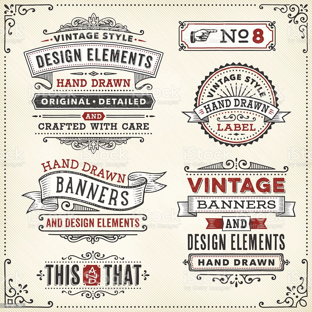 Banners and Frames Hand Drawn vector art illustration