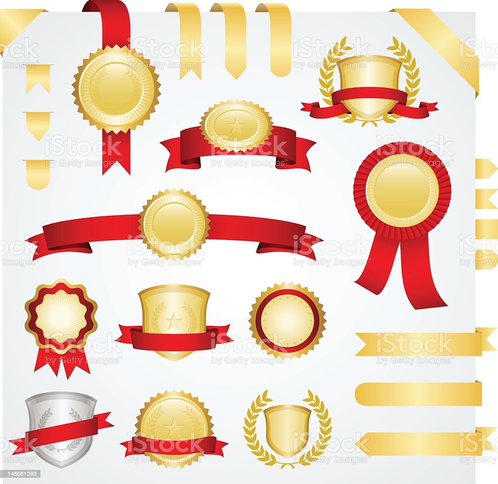Banners and ribbons set stock photo