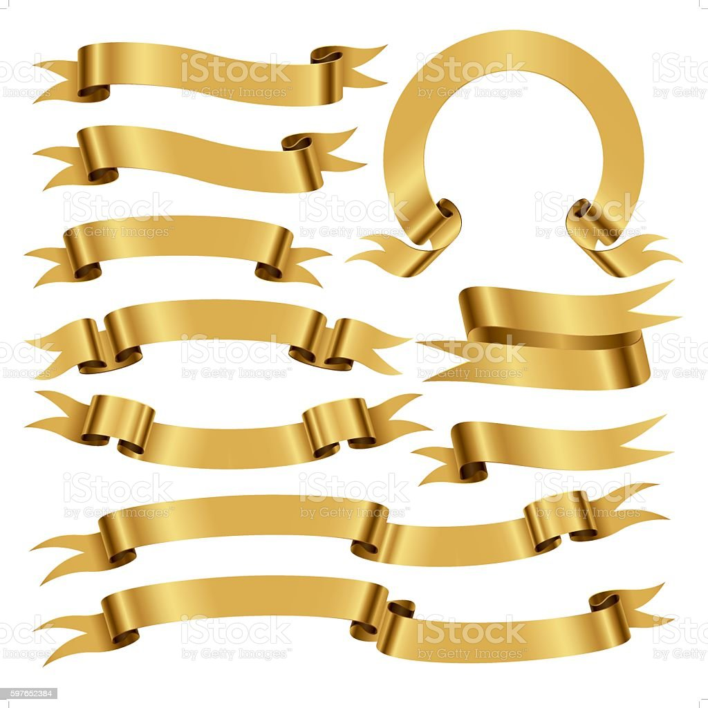 banners and scrolls in gold color vector art illustration