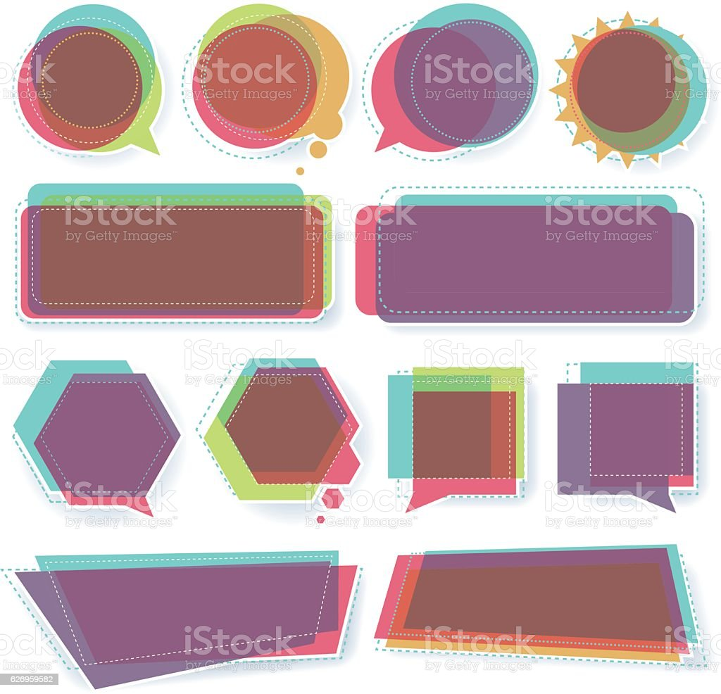 banners and speech bubbles vector art illustration