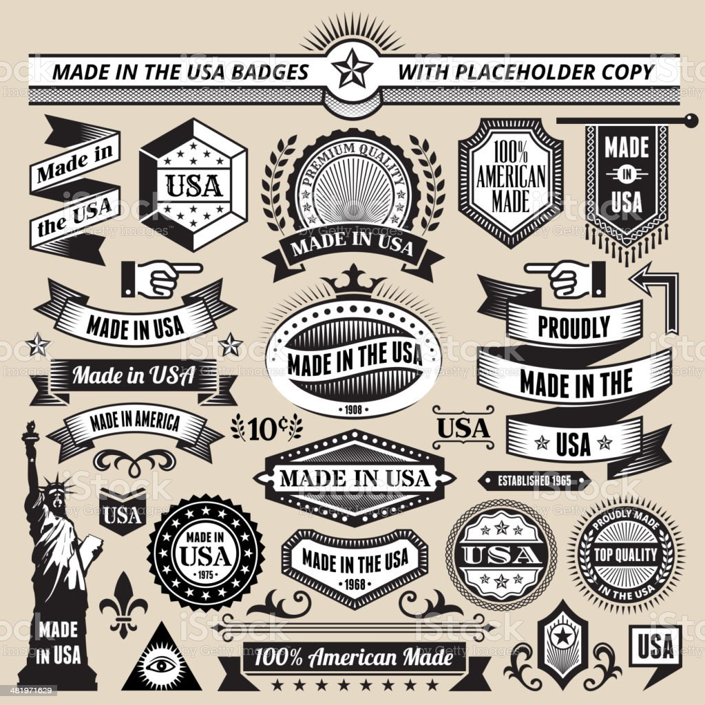 Banners, badges and symbols with Made in the USA royalty-free stock vector art