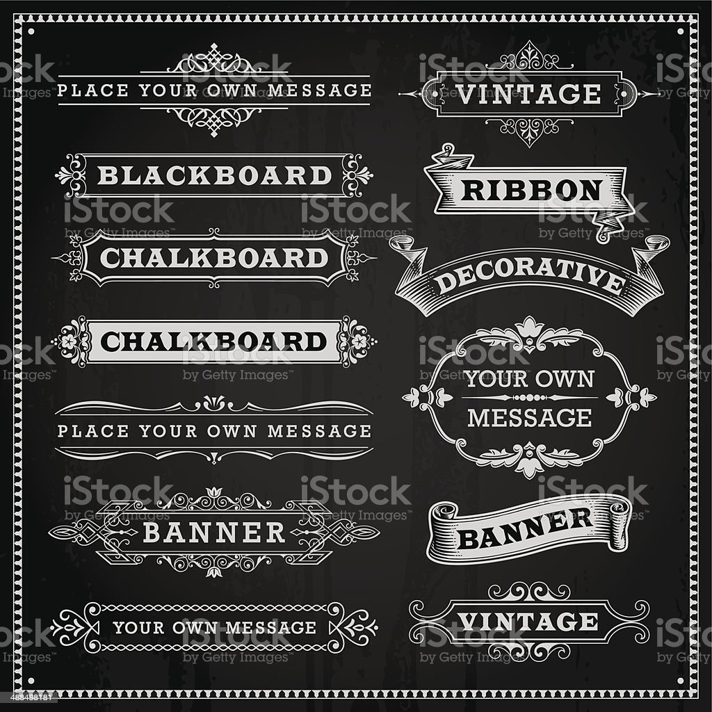 Banners, frames and ribbons, chalkboard style vector vector art illustration