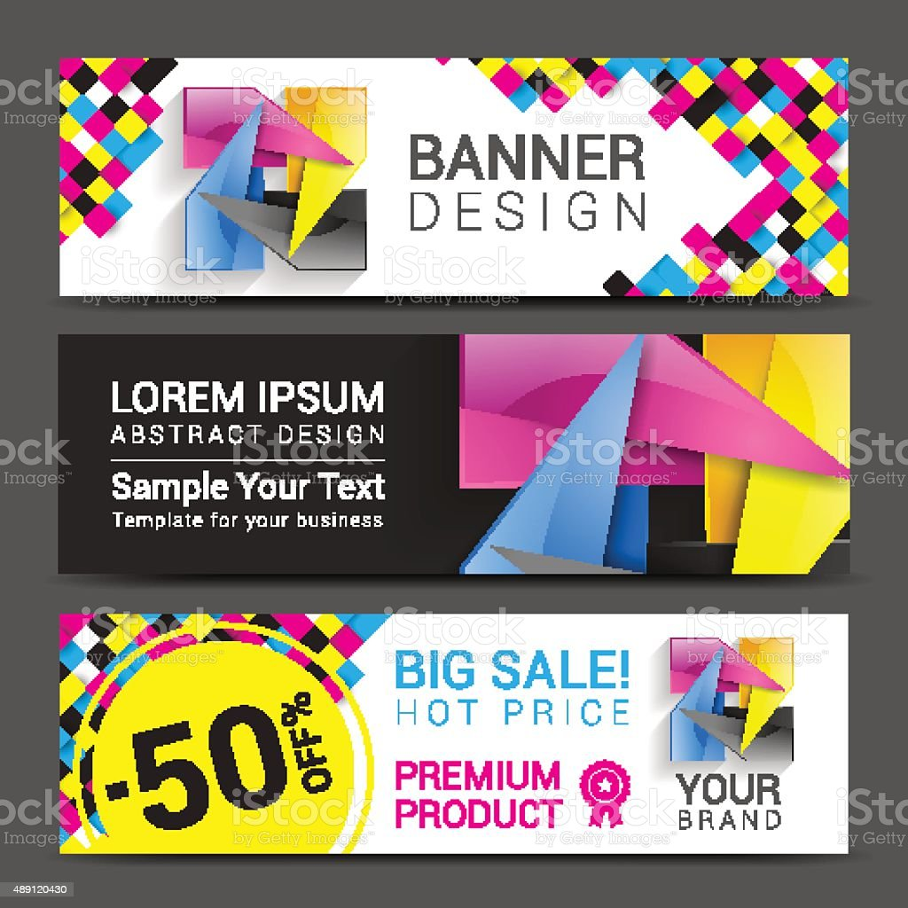 CMYK Banners logo element modern design color vector art illustration