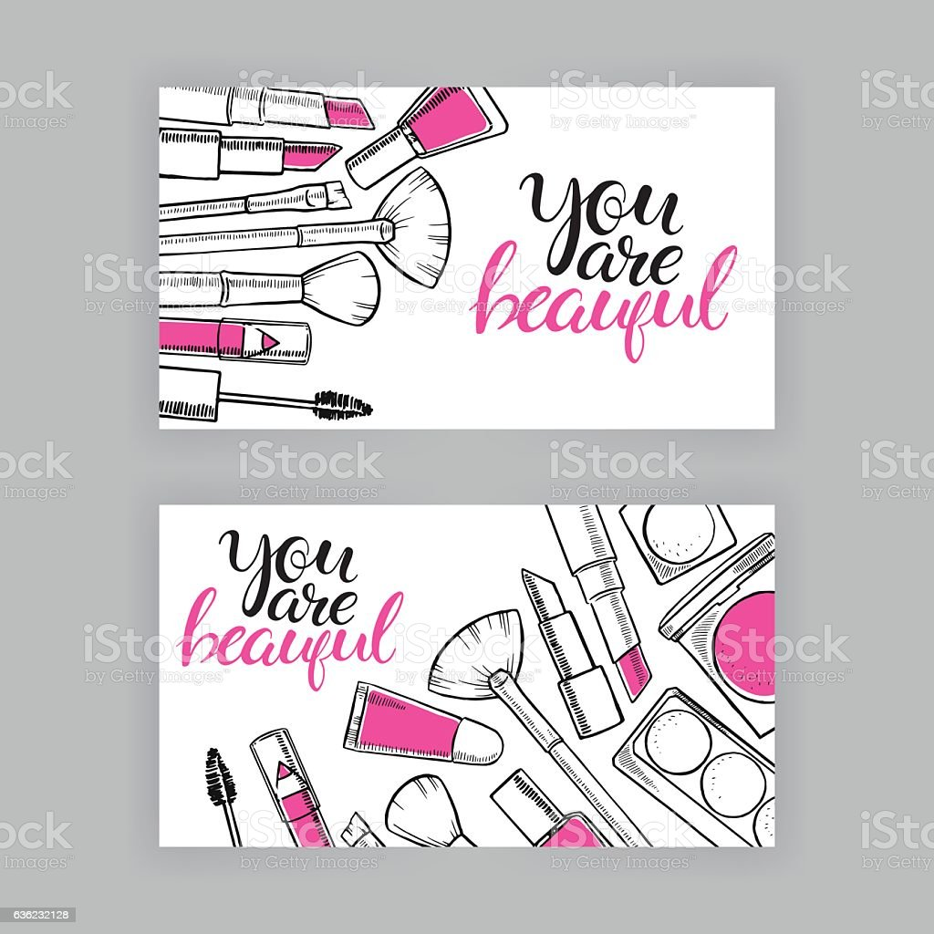 banners of female cosmetics vector art illustration