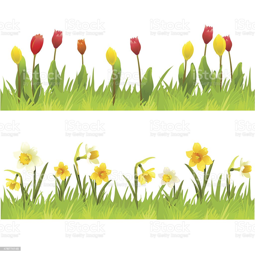 banners of spring flowers vector art illustration