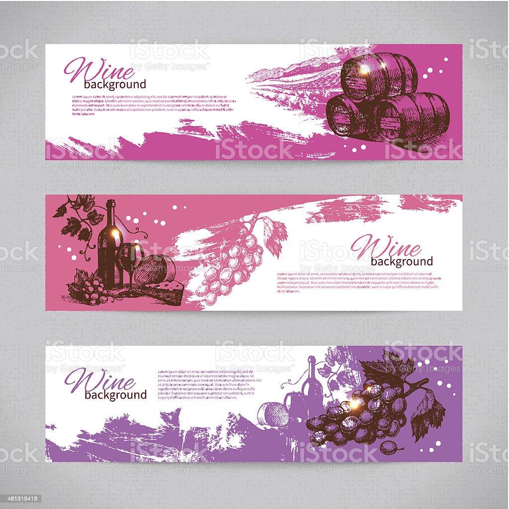 Banners of wine vintage background vector art illustration